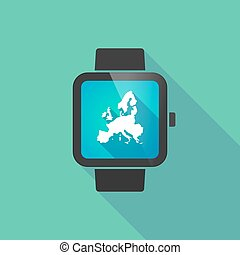 Smart watch vector icon with  a map of Europe