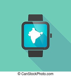 Smart watch vector icon with  a map of India