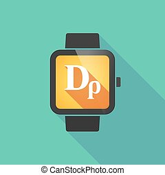 Smart watch vector icon with a drachma currency sign - Long...