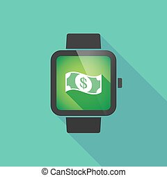 Smart watch vector icon with a dollar bank note - Long...