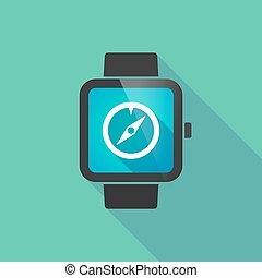 Smart watch vector icon with a compass