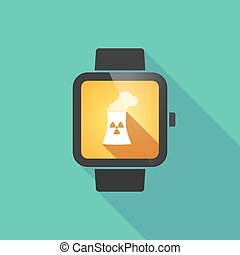 Smart watch vector icon with a nuclear power station - Long...