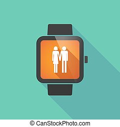 Smart watch vector icon with a heterosexual couple pictogram...