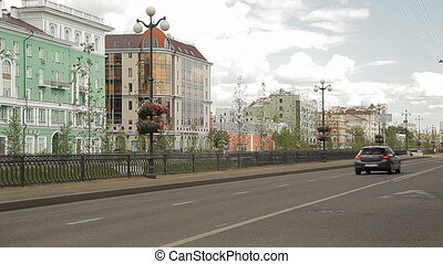 Russian city road - Big russian city in summer. Transport is...