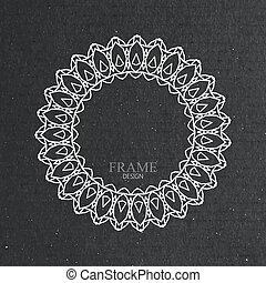 ornate frame on cardboard texture. - vector illustration...