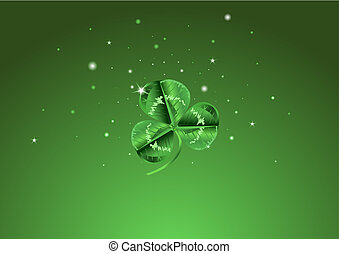St. Patrick's Day Three Leafed Clover Background - Three...