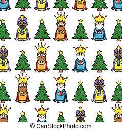 Christmas background three wise men and Christmas tree