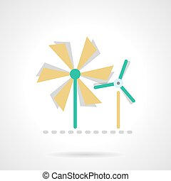 Wind turbine flat color vector icon - Wind power mills,...