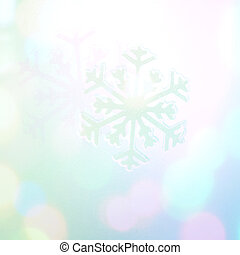 Winter holiday snow flake blue background, bokeh.