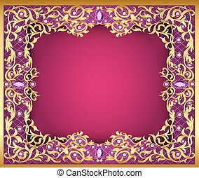 Illustration background with  gems and gold ornaments