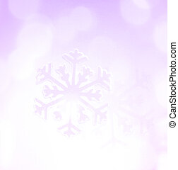 Winter holiday snow flake purple background, bokeh.