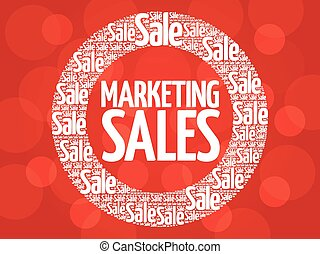 Marketing SALES circle stamp word cloud, business concept