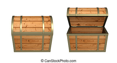 3d wooden box - 3d empty wooden box. Object over white