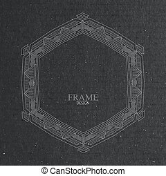 vector illustration with ornate frame on cardboard texture...
