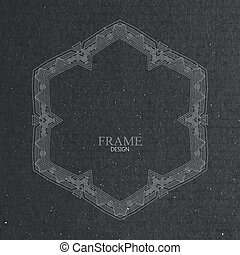 vector illustration with ornate frame on cardboard texture....