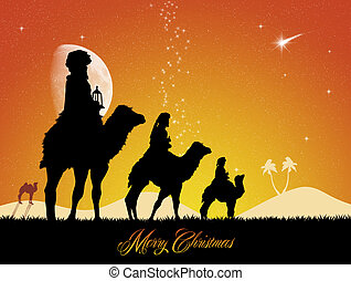 three wise men - illustration of three wise men