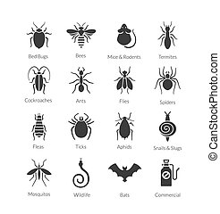 Vector set of icons with insects for pest control company -...