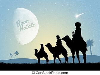 three wise men on camels - illustration of three wise men on...