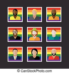 people icons with LGBT community members - vector set of...