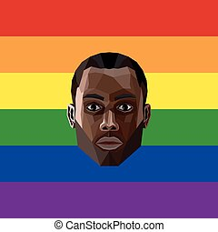 LGBT community member vector illustration of low-poly human...
