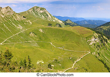 View from the Hochplatte mountain - View of the Kafell peak...