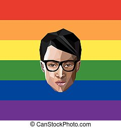 LGBT community member. vector illustration of low-poly human...