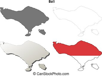 Bali blank outline map set