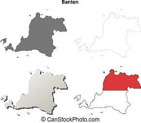 Banten blank outline map set