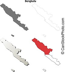 Bengkulu blank outline map set