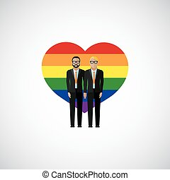 gay marriage vector flat illustration. homosexual couple on...