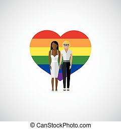 gay marriage vector flat illustration. homosexual lesbian...