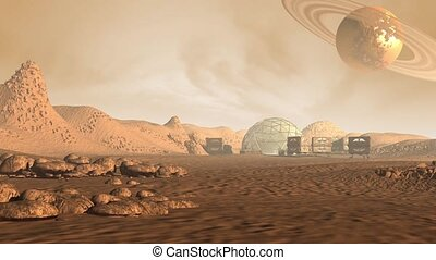 Colony on a Mars like red planet, with astronaut pods, dome...
