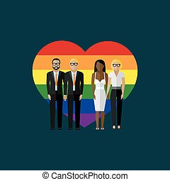 gay marriage vector flat illustration. homosexual couples on...