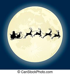 Santa Claus silhouette with deers in front of moon - Santa...