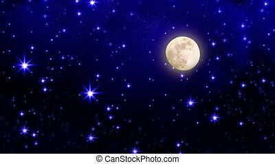 Full  moon with star at dark night sky background.