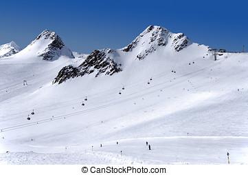 Skiing on Tiefenbach glacier in Solden - Gondola cable car,...