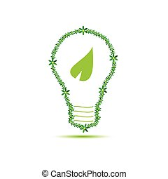 eco bulb with leaf green vector