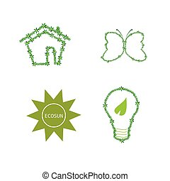 eco icon green vector - eco icon green nature vector