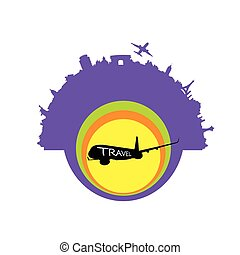 travel exotic with airplane vector