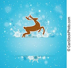 Background with deer and snowflakes
