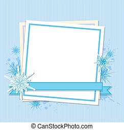 Snowflakes and white sheet of paper