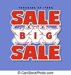 Big Men and Big Sale. Vector