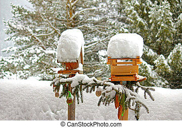 Decorated wooden bird feeders with meshed bags full of nuts...