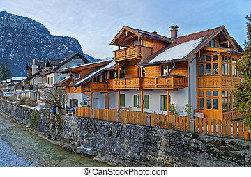 Typical wooden chalet in Garmisch-Partenkirchen. It is an...