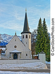 Picturesque old church in Garmisch-Partenkirchen on a clear...