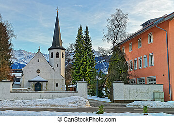 Picturesque old church in Garmisch-Partenkirchen on a sunny...