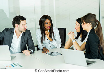 Exchange of thoughts during a business brainstorming