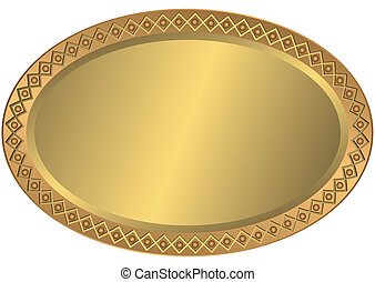 Oval metal golden and bronze plate with an ornament on edges...