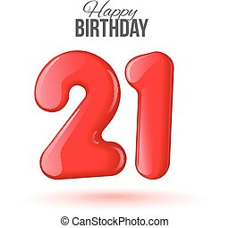 21 birthday. Greeting card with numbers. - Sample greeting...