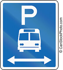 New Zealand road sign - Parking zone for buses with no time limit, on both sides of this sign